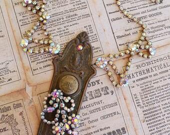 Antique Decorative Brass Door Knob Plate 50s Aurora Borealis Rhinestone Necklace