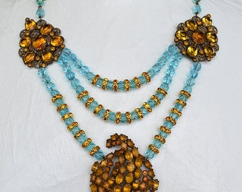 1940s Amber Glass Rhinestone Love Knot Brooch Art Deco Fur Clips Faceted Aqua Blue beaded Statement Necklace