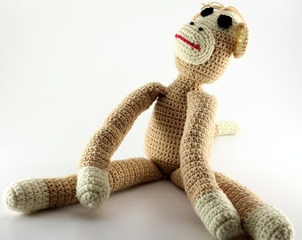 Crochet Sock Monkey - Amigurumi Handmade Stuffed Monkey Doll