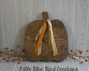wood pumpkin cut out - stained wood - wood sign - shabby chic pumpkin - fall decor - pumpkin spice