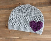 Gray Toddler Girl, Baby Girl Hat with Purple Heart
