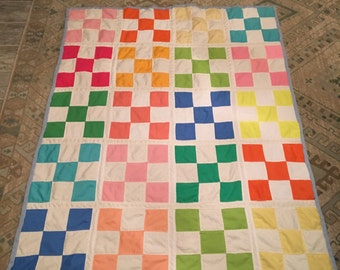 """Hand-made Multi-color Polyester & Cotton Patchwork 55"""" x 44"""" Lap Quilt by Kay Creatives"""