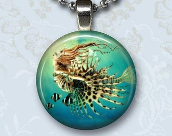 Lionfish Mermaid and Clownfish Photo Charm Pendant, Glass Dome Medallion, Silver Chain Necklace, Jewelry by Yessijewels