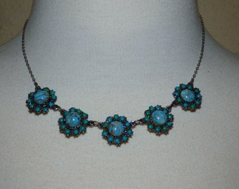 1950's Faux Beautiful Turquoise Glass Floweret Silver Plated Necklace