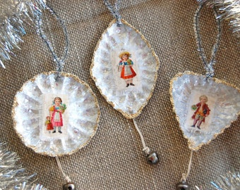 Set of 3 Christmas tart tin ornaments - victorian children - silver bells