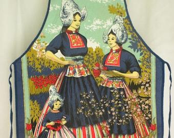 Vintage 70s Dutch Girls Print Full Apron Cotton Kitchen Souvenir Apron