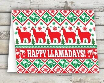 Happy Llamadays, Christmas Card, funny christmas card, unique christmas cards, Llama, Llamas, XMAS, Holiday Card,Xmas Card