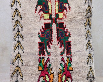 """BIRDS, FLOWERS, and DRAGONFLIES 6'2"""" x 3'11"""" Boucherouite Rug. Tapes Moroccan Berber. Mid Century Modern Design Compliment. FA15-110"""