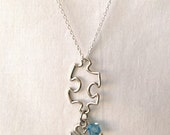 Autism Awareness Jewelry, Sterling Silver Puzzle Pendant with Crystal and Initials