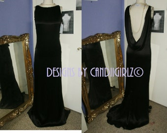 1920's insp INESSA dress Ready to ship black silk RTS Custom made drape open back gala wedding ballroom Long gown dress size 2-6 RTS