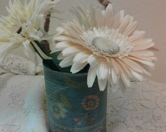 ENTIRE STORE on SALE Vintage Wall Paper Wrapped Tin Can- Vase- Pencil Holder - Paint Brush Holder - MakeUp Brush Holder- Cosofg