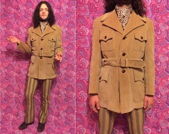 Vtg 70s Beige Corduroy Belted Mens Dandy Mod Jacket Coat M