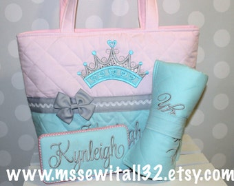 XL Quilted / Pink and Aqua with Princess Crown / Diaper Bag Set - Personalized Diaper Bag Set