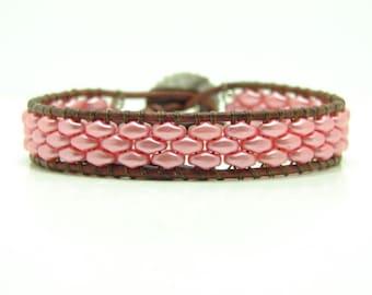 Beaded Leather Wrap Bracelet, Light Coral Beaded Wrap Bracelet, Super Duo Wrap Bracelet, Boho, Superduo Wrap Bracelet, Single Wrap Bracelet