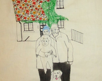 Custom family portrait - embroidered illustration