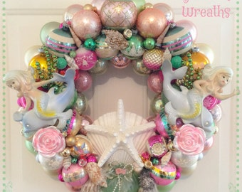 "Chic Seafoam Green Pink Beach Mermaid Vintage Ornament Wreath ~Large 20"" , Shiny Brite, Vintage Mermaid Plaque OOAK!"
