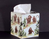 Ceramic Jungle Monkeys Tissue Box Cover - Wild - Zoo - Animals - Safari - Cute Mama and Baby - African Home Decor