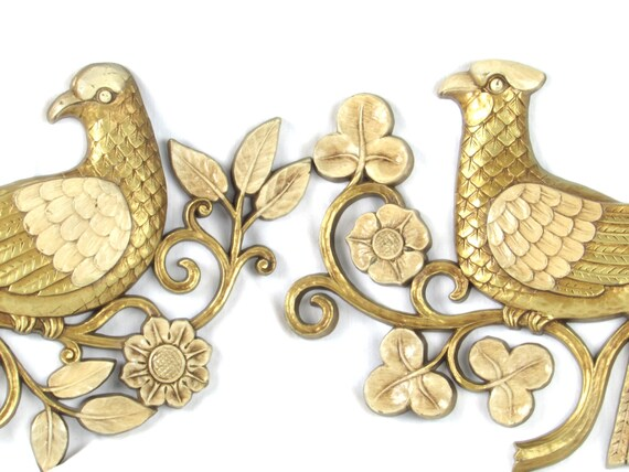 Vintage Love Birds Wall Hangings 1960s Syroco Wood Golden