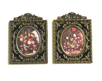 2 Ornate Italian Brass Frames with Black Velvet, Rococo Style, Made in Italy