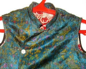Antique Uzbek Silk Brocade Women's Jacket Russian Cotton Lining as is