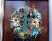 Turquoise Cross Burlap and Mesh Wreath