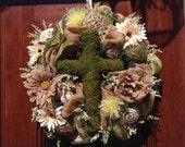 Moss Cross Burlap and Mesh Wreath