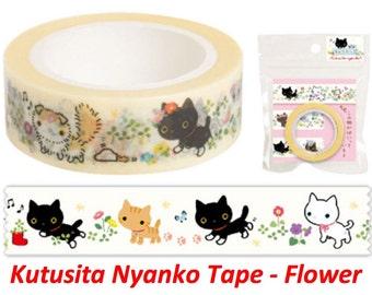 Kawaii Cat Washi Tape - Kutusita Nyanko - Flower