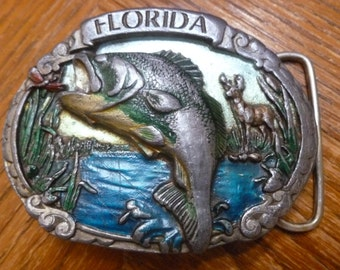 Florida brass buckle 1986 fish and big mouth bass