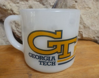 Georgia Tech Yellow Jackets Red Lobster mug by Federal milk glass
