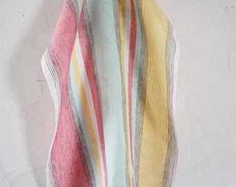 Pure Linen Kitchen towel Dish towel Tea towel SHIPPING WORLDWIDE  Striped Pink Yellow Green White