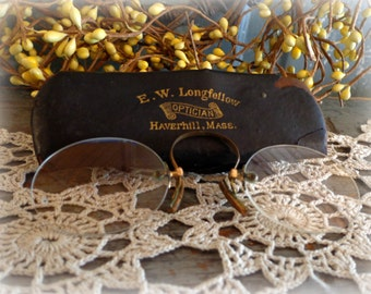 antique pince nez glasses in original case / 1900's victorian eyewear / turn of the century spectacles / haverhill, mass.