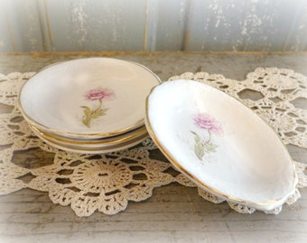 vintage butter pats with pink rose / set of 4 / cottage & shabby decor