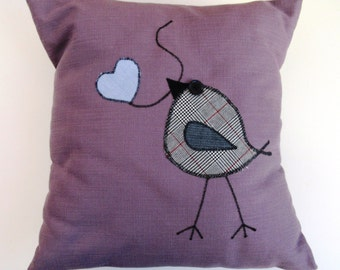 Plum Appliqued Bird Pillow