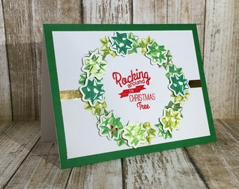 Christmas Bow Wreath-Blank card