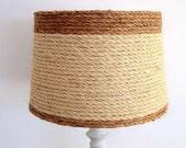 Drum Style Lampshade, Beach Nautical Coastal Decor lamp shade, Natural woven sisal rope, table lampshade, Ocean decor, light fixture shade