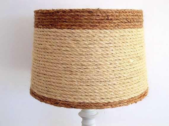 drum style lampshade beach nautical coastal decor lamp shade natural. Black Bedroom Furniture Sets. Home Design Ideas