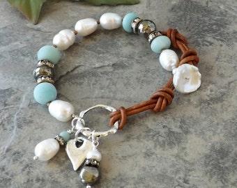 Southwest Leather Bracelet, Freshwater Pearl Bracelet, Sundance Style, Gemstone Bracelet, Stacking, Adjustable, Amazonite, Pyrite, Gift