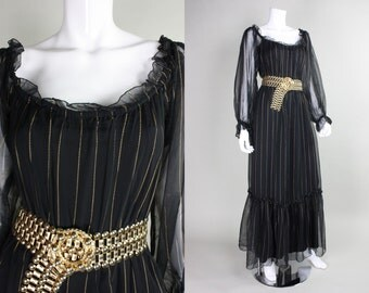 1970's Pat Richards Chiffon Maxi Dress