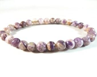 Flower Sugilite Stretch Bracelet Smooth Round Gemstone Bead Bracelet 6mm Purple Lavender