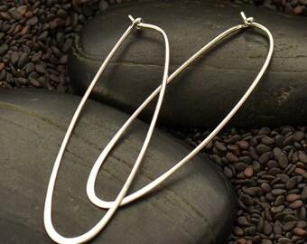 Sterling Silver Long Oval Hoop Earrings