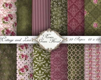 Floral Digital Paper,  Rose - Green Paper Pack, Scrapbooking Paper, Instant Download,  No 1234