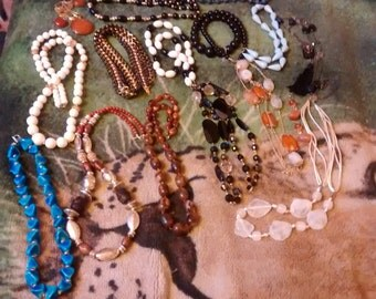 Chunky Necklace Collection Of 15 Beauties   2 With Matching Earrings ***Left Blue Chunky Not Available
