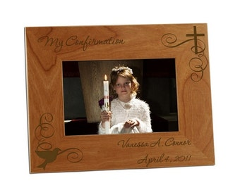 Engraved Confirmation Wooden Photo Frame