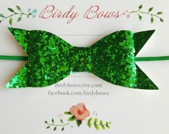 Green Glitter Baby Bow Headband, Baby Headbands, Infant Headbands, Baby Girl Headbands, Infant Bow, Baby Bow, Girl Bow,Girl Headbands