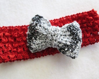 Special occasion red crochet headband with bow mini clip with teeth