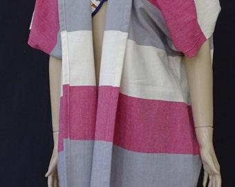 Women's multi colour soft light weight Turkish  cotton kimono poncho, beach cover up.