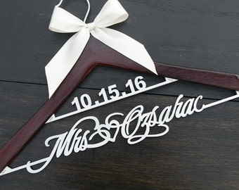 Wedding Hanger Personalized with Date and Name, Rustic Wedding Dress Hanger, Custom Wood Bridal Last Name Hanger, Bridal Shower Gift LL026