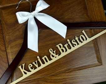 Personalized Rustic Wedding Dress Hanger, New-tech Bride Bridesmaid Wood Name Hanger, Custom Wedding Bridal Hanger, Bridal Shower Gift CM002