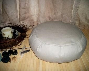 "Meditation Cushion. Zafu. UNFILLED COVER. Taupe Twill Fabric. 15 x 5. Round Floor Pillow.  6"" L. Sidewall Zipper. Handmade, USA"