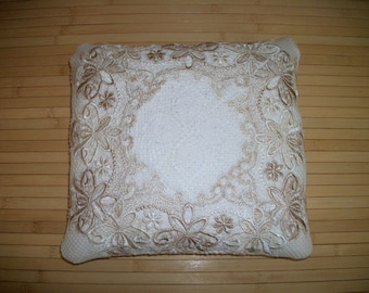 "Throw Pillow. Home Decor Pillow.  Cream and Beige Repurposed Upholstery Fabric and Lace. 12""x13"" Buckwheat Hull filled. Handmade USA"